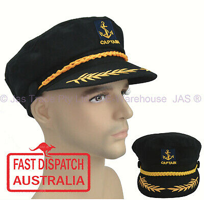 Sailor Navy Boating Nautica Captain Fancy Dress Party Costume Cap Hat Black S- L
