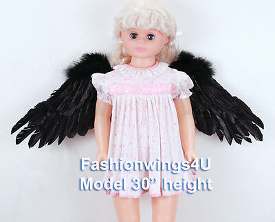 Children's Black sidespan spread feather angel wings swan lake costume props