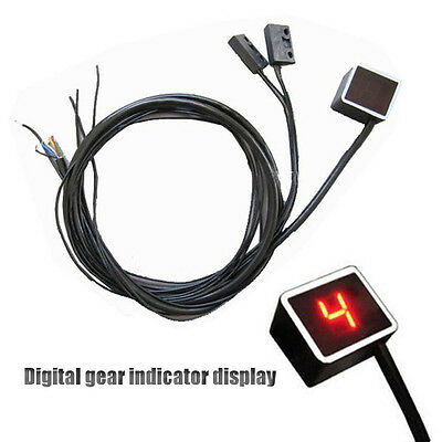 NEW Universal LED Digital Gear Indicator Motorcycle Display Shift Lever Sensor