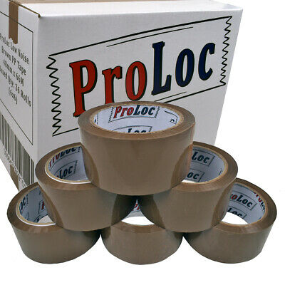 144 Rolls Of LOW NOISE BROWN Buff Parcel Tape 48mmx66M