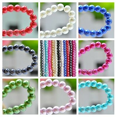 50pcs Round Glass Pearl Spacer Beads 6mm Pick 14 Colors Mixed Hot DIY