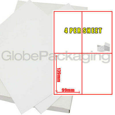 20 Sheets Of Printer Address Labels - 4 Per Sheet Page
