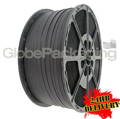 1500 METRE Hand Pallet Strapping Black Coil 12mm 310kg
