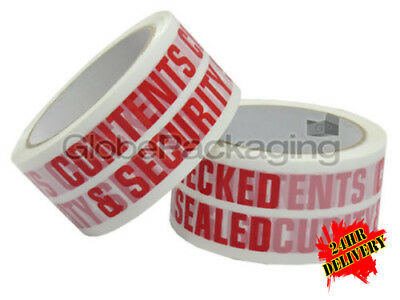 36 Rolls of CONTENTS CHECKED Printed Packing Tape 66m