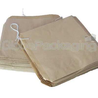 "100 x Brown Strung Kraft Paper Food Bags - 10"" x 10"""