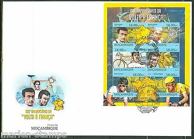 MOZAMBIQUE  2013 100th ANNIVERSARY OF THE TOUR de FRANCE  SHEET FDC