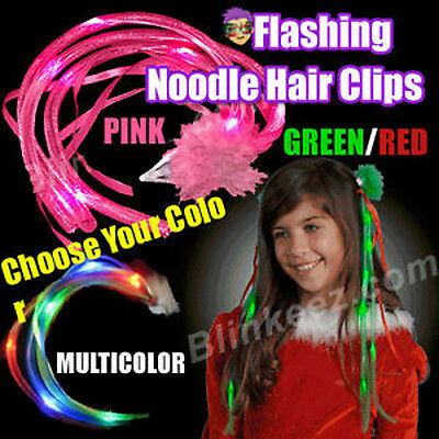 FLASHING LIGHT UP Blinking NOODLE HAIR CLIPS PARTY FUN!