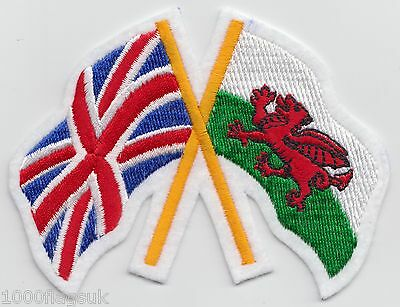Wales Welsh and United Kingdom Friendship Flag Embroidered Patch Badge
