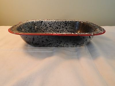 VIntage Red White Black Splatter Speckled Metal Bowl Dish Rectangle Pan