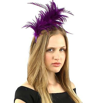 1920s Flapper Feathers Handmade Headband Fascinator Millinery Cocktail Purple