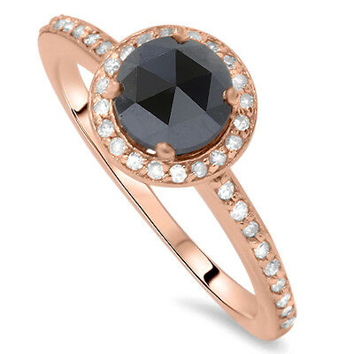 1.25CT Black & Diamond Rose Gold Halo Vintage Antique Ring 14 Karat