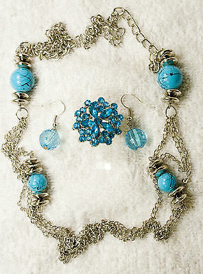 jewelry set long necklace earrings ring turquoise crystal silver vintage style