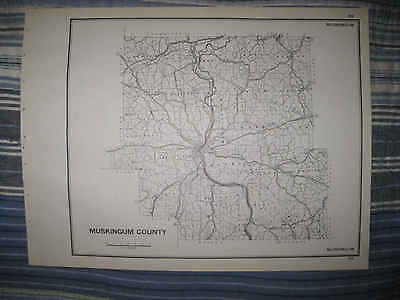 Antique 1940 Muskinggum County Zanesville Ohio Highway Map Township Road