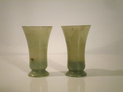 Antique Chinese Late Qing 2 Jade Liquor Shot Glasses Cups