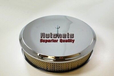 """14"""" Round Deep Dish Style Chrome Air Cleaner Street Hot Rod Rat Breather Filter"""