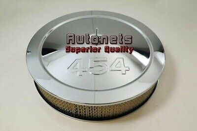 """14"""" Chevy 454 Logo Chrome Steel Air Cleaner Filter Street Hot Rod Recessed Base"""