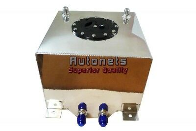Fabricated Polish Aluminum Rectangle Fuel Gas Cell Tank 2.6 Gallon HotStreetRod