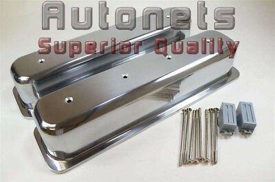 Street Rod Polished Center Bolt Smooth Valve Covers Chevy Aluminum Short SBC 5.0
