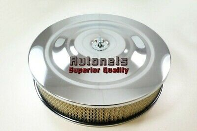 """14"""" Round Performance Style Chrome Air Cleaner Street Hot Rod Breather Filter"""