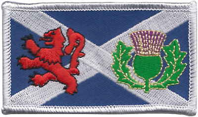 Scotland Scottish Saltire Lion Rampant and Thistle Embroidered Patch Badge