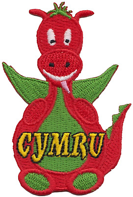 Wales Welsh Cymru Cartoon Dragon Flag Embroidered Patch Badge LAST FEW