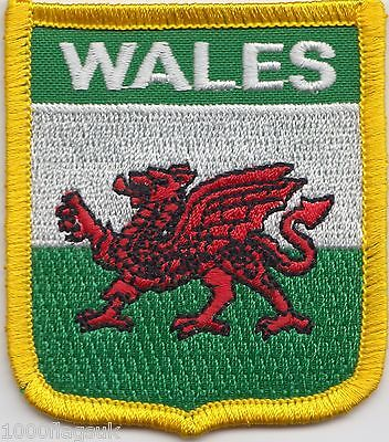Wales Welsh Dragon Shield with Gold Trim Flag Embroidered Patch Badge LAST FEW
