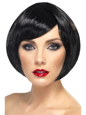 Black Babe Wig Short Bob with Fringe Adult Womens Smiffys Fancy Dress Costume