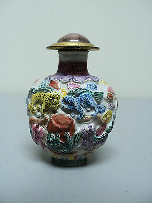 FABULOUS 19th C. CHINESE HAND PAINTED PORCELAIN SNUFF BOTTLE with ANIMALS