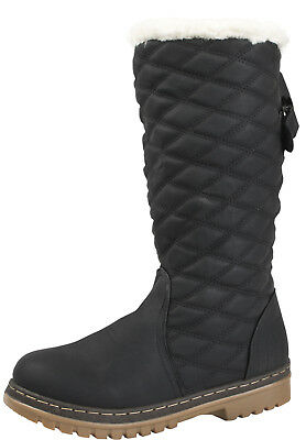 Womens Quilted Boots Faux Fur Lined Knee High Snow Boots Winter Ladies Shoes