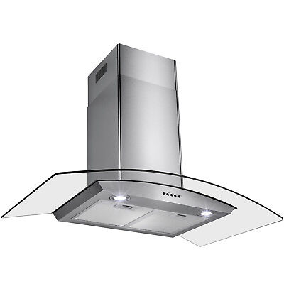 """36"""" Stainless Steel Tempered Glass Wall Mount Push Button Range Hood Cooking Fan"""
