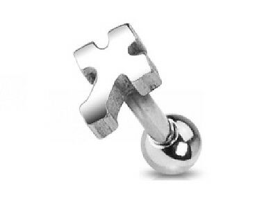 Small CROSS - Helix / Tragus Earring - Surgical Steel - 1.2mm x 6mm Length Bar