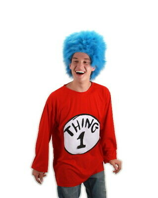 Dr. Seuss The Cat In The Hat Thing 1 Adult T-Shirt & Wig Costume Kit NEW SEALED