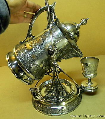 ANTIQUE DERBY SILVERPLATE WATER TIPPER BIRDS INSECTS LEAF FLOWERS ORNATE DESIGN