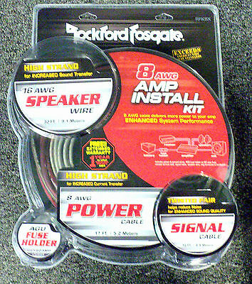 NEW Rockford Fosgate RFK8X 8 Gauge Amplifier Power Installation Kit