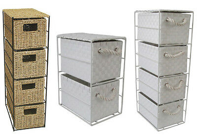 2 or 4 PP WHITE /SEAGRASS DRAWER TOWER UNIT STORAGE FOR HOME / OFFICE  XMAS GIFT