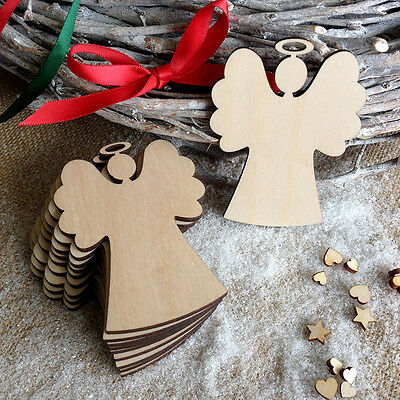 Wooden ANGELS Hanging Christmas Blank Decorations Tags Shapes Embellishments x10