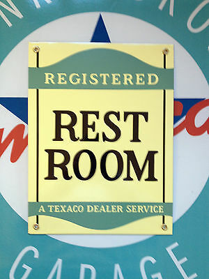 registered TEXACO restroom  - PORCELAIN COATED SIGN - shipping discounts