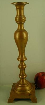 ANTIQUE LATE 1800s HEAVY BRONZE TALL ALTAR CANDLESTICK 17 1/2''