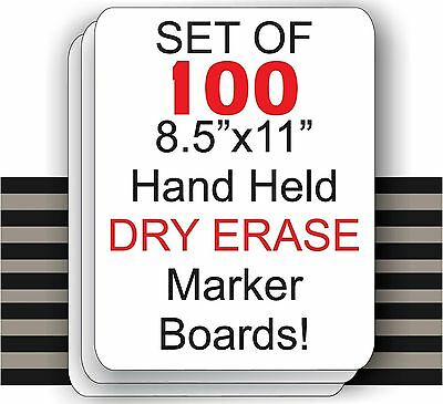 "Set Of 100  - 8.5"" X 11"" Student Laptop Dry Erase Marker Boards ( SET OF 100 )"