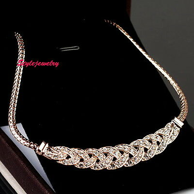 Rose Gold Filled Made with Swarovski Crystal Knit Solid Women Necklace N113