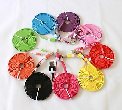 2x 6 ft 2 M Long Colorful USB Data Sync Cable Charge Cord For iPhone 5 iPod