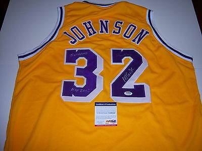 c374b568645 MAGIC JOHNSON SIGNED Los Angeles Lakers Gold Home Jersey HOF PSA DNA ...