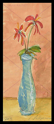 Blue Vase with Red Flowers ORIGINIAL WATERCOLOR PAINTING aceo Impressionist ART
