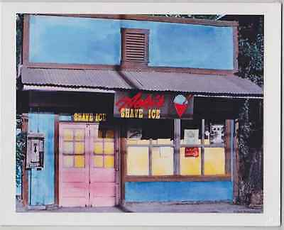 Aoki's Shave Ice 1978 Haleiwa Giclee Of Hand Colored B&w Photo On 8X10 Inch Mat