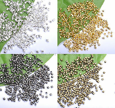1000pcs Silver Plated/Golden//Black Tube Crimp End Spacer Beads 1.5MM 2.0MM