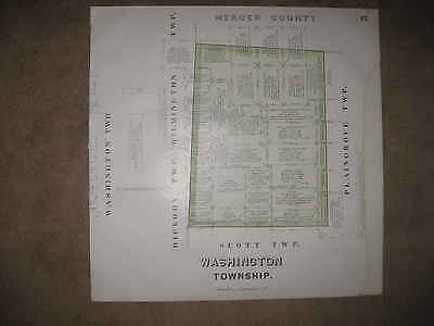 HUGE ANTIQUE 1909 WASHINGTON TOWNSHIP LAWRENCE COUNTY PENNSYLVANIA MAP RARE NR