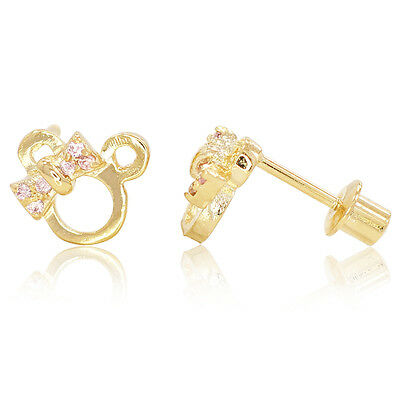 18k Gold Filled Baby Screw Back Earrings Pink Crystal Minnie Mouse Girls Lady