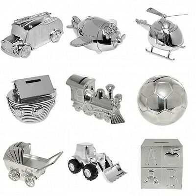 Various Silver Plated Money Box Christening Football Digger CubeTrain Noahs Ark