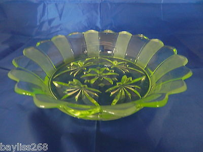 Lovely Large Uranium Green Glass Bowl Great Condition Art Glass Beautiful