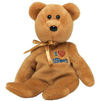 TY Beanie Baby - ILLINOIS the Bear (I Love Illinois - State Exclusive) (8.5 in)